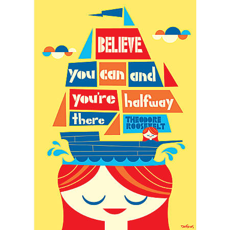 "Scholastic POP! Chart, Believe You Can, 25 3/8"" x 19"", Multicolor"