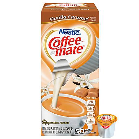 Nestlé® Coffee-mate Liquid Creamer Singles, Vanilla Caramel, 0.38 Oz, Box of 50 Singles
