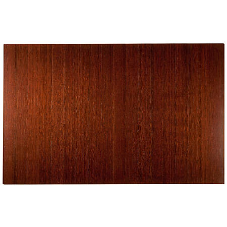 "Anji Mountain Bamboo Deluxe Roll-Up Chair Mat, 48"" x 72"", 8 mm""-Thick, Dark Cherry"