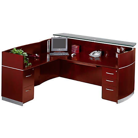 Mayline® Napoli Reception Station, With Return And 2 Pedestals, Mahogany