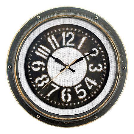 "Realspace Round Wall Clock, 12"", Gray Burlap/Matte Black"