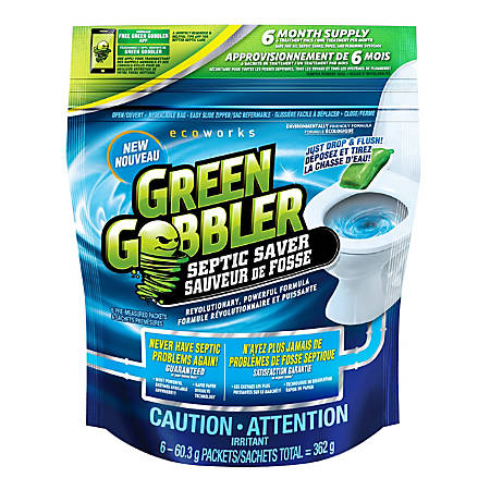 Green Gobbler Septic Saver, Unscented, 48 Oz, 6 Applications Per Bag, Pack Of 3 Bags