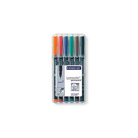 Staedtler® Mars® Lumocolor® Permanent Markers, Fine Point, 80% Recycled, Assorted Colors, Pack Of 6