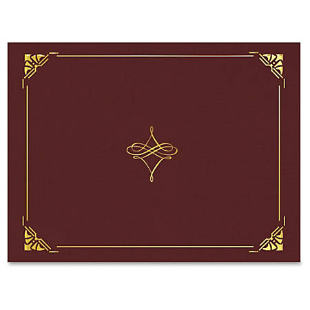 """Geographics Gold Foil Border Certificate Holder - Letter - 8 1/2"""" x 11"""" Sheet Size - Cordova, Gold - Recycled - 5 / Pack"""