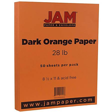 "JAM Paper® Printer Paper, Letter Size (8 1/2"" x 11""), 28 Lb, Dark Orange, Ream Of 50 Sheets"