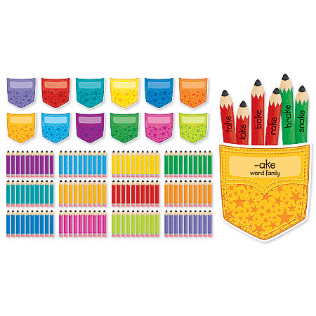 Scholastic Handy Pockets Mini 132-Piece Bulletin Board Set, Assorted Colors