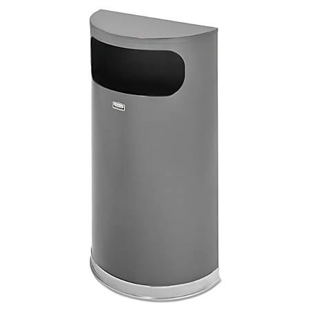 Rubbermaid® Commercial Half-Round Steel Waste Receptacle, Flat Top, 9 Gallons, Anthracite Metallic/Chrome