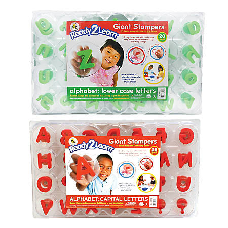 """Center Enterprises Ready2Learn Alphabet Letters Giant Stamps, Lowercase/Uppercase, 3"""", Green/Red, Pack Of 56"""