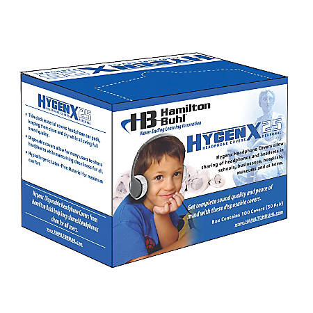 """HamiltonBuhl™ HygenX Disposable Ear-Cushion Covers For 2.5"""" Over-Ear Headphones & Headsets, White"""