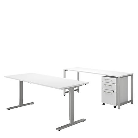 "Bush Business Furniture 400 Series 72""W x 30""D Height Adjustable Standing Desk With Credenza And Storage, White, Premium Installation"