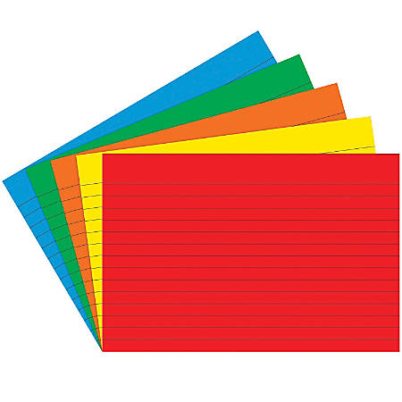 "Top Notch Teacher Products® Bright Primary Lined Index Cards, 4"" x 6"", Assorted Colors, 75 Cards Per Pack, Case Of 6 Packs"