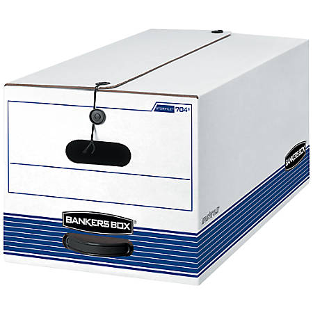 """Bankers Box® Stor/File™ FastFold® Storage Boxes, 24""""D x 12""""W x 10""""H, Letter, 60% Recycled Content, White/Blue, Pack of 12"""