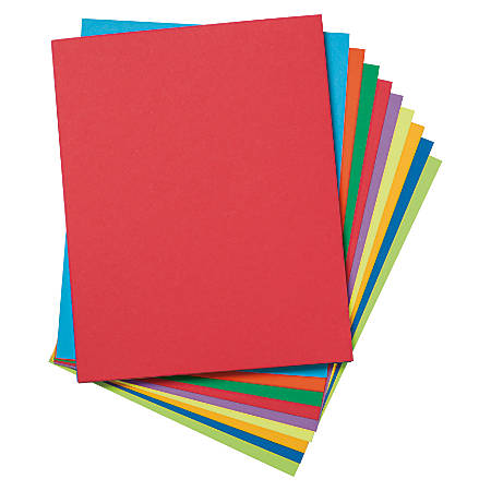 """Pacon® Tagboard, 8 1/2"""" x 11"""", Assorted Colors, Pack Of 50"""