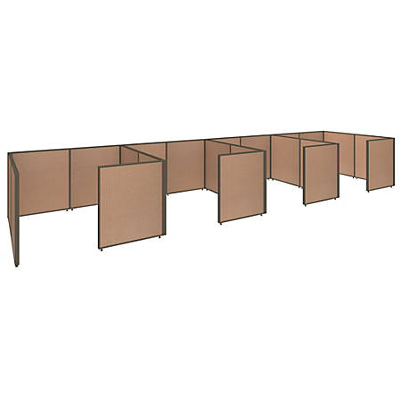 """Bush Business Furniture ProPanels 4-Person Closed Cubicle Office, 43""""H x 297 3/8""""W x 73 15/16""""D, Harvest Tan, Standard Delivery"""