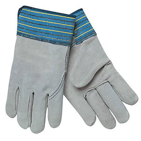 Memphis Glove Select Split Cow Leather Work Gloves, X-Large, Blue/Gray, Pack Of 12 Gloves