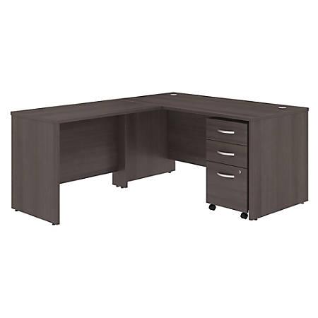 "Bush Business Furniture Studio C 60""W x 30""D L Shaped Desk with Mobile File Cabinet and 42""W Return, Storm Gray, Premium Installation"