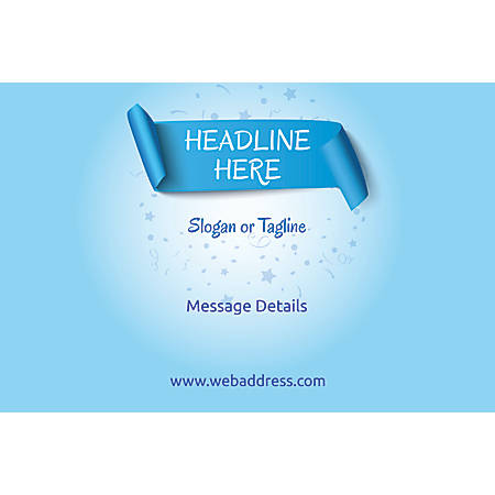 Adhesive Sign, Blue Banner, Horizontal