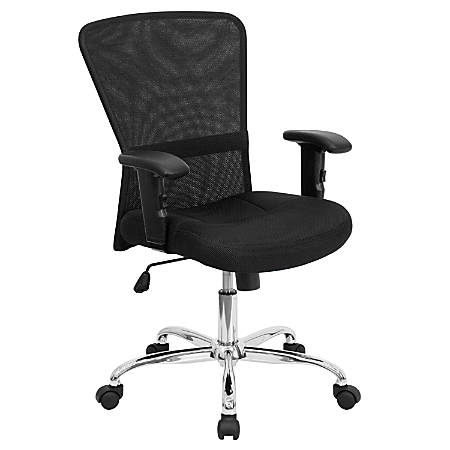 Flash Furniture Contemporary Mesh Mid-Back Swivel Task Chair With Adjustable Arms, Black/Chrome