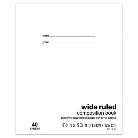"""Office Depot® Brand Schoolmate Composition Book, 6 7/8"""" x 8 1/2"""", Wide Ruled, 40 Sheets"""