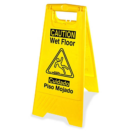 Genuine Joe Universal Graphic Wet Floor Sign - 6 / Carton - Wet Floor Print/Message - Foldable - Yellow