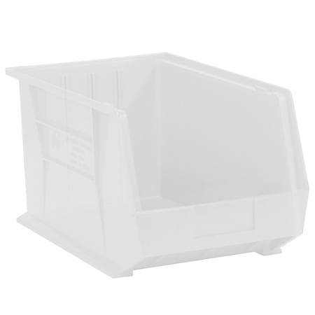 "Office Depot® Brand Plastic Stack And Hang Bin Boxes, 10 3/4"" x 8 1/4"" x 7"", Clear, Pack Of 6"