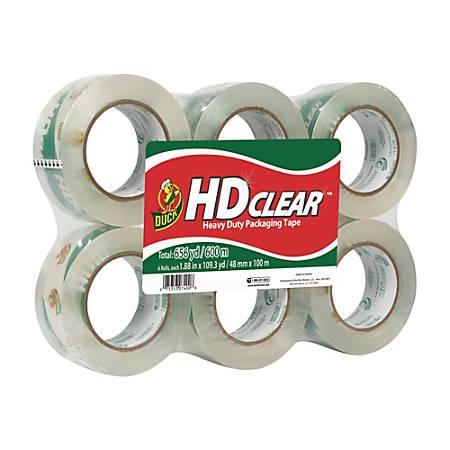 """Duck® HD Clear™ Heavy-Duty Packaging Tape, 1 7/8"""" x 109.3 Yd., Pack Of 6"""