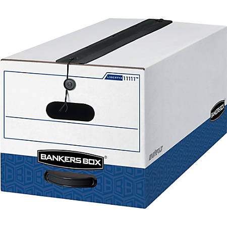 """Bankers Box® Liberty® Plus Storage Boxes With String & Button Closure, 24"""" x 12"""" x 10"""", Letter, 60% Recycled, White/Blue, Case Of 12"""