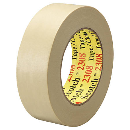 """3M™ 2308 Masking Tape, 3"""" Core, 1.5"""" x 180', Natural, Pack Of 24"""