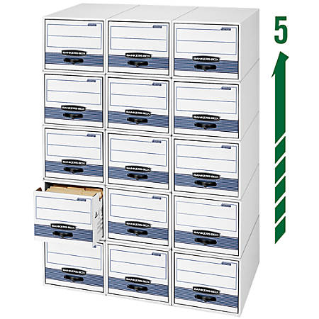 "Bankers Box® Stor/Drawer® Steel Plus™ Drawer File, Legal Size, 23 1/4"" x 15 1/2"" x 10 3/8"", 60% Recycled, Black/White, Pack Of 6"