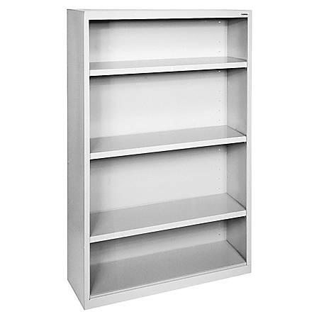 Lorell® Fortress Series Steel Bookcase, 4-Shelf, Light Gray
