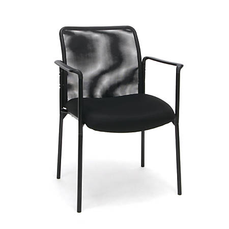 Essentials By OFM Stacking Side Chair With Arms, Black