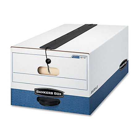 """Bankers Box® Liberty® Plus Storage Boxes With String & Button Closure, 24"""" x 15"""" x 10"""", Legal, 60% Recycled, White/Blue, Case Of 12"""