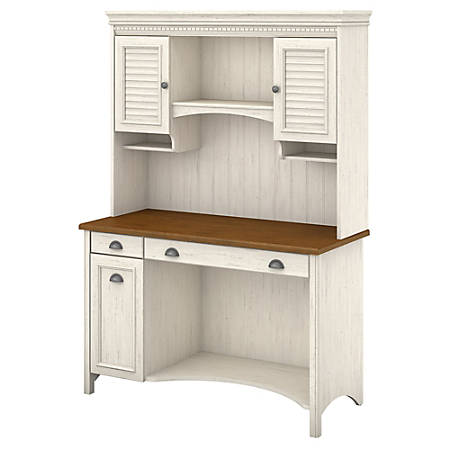 Bush Furniture Stanford Computer Desk With Hutch And Drawers, Antique White/Tea Maple, Standard Delivery