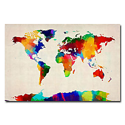 Trademark Global Sponge Painting World Map Gallery Wred Canvas Print By Michael Tompsett 22