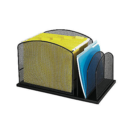 """Safco® Onyx Mesh Hanging File Desk Organizer With 2 Upright Sections, 11 1/2""""H x 19 1/4""""W x 11 1/2""""D, Black"""