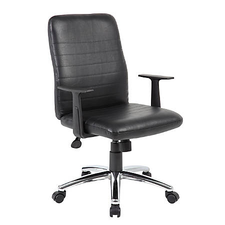 Boss Office Products Retro Vinyl Mid-Back Task Chair, With Arms, Black/Chrome