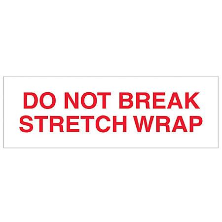 "Tape Logic® Do Not Break Stretch Wrap Preprinted Carton Sealing Tape, 3"" Core, 2"" x 110 Yd., Red/White, Pack Of 18"