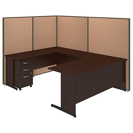 "Bush Business Furniture C-Leg ""U""-Shaped Laminate Workstation With ProPanels And Mobile Pedestal, 67"" x 97 7/8""W x 74""D, Harvest Tan, Standard Delivery Service"