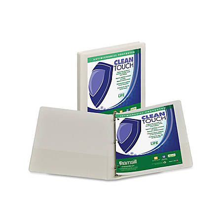 """Samsill Antimicrobial Insertable Round Ring Binder - 1/2"""" Binder Capacity - Letter - 8 1/2"""" x 11"""" Sheet Size - 3 x Round Ring Fastener(s) - 2 Internal Pocket(s) - White - 12 oz - Recycled - 1Each"""