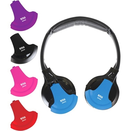 BOSS AUDIO HP34C Interchangeable Accent Caps come in Black, Red, Blue, Purple, and Pink