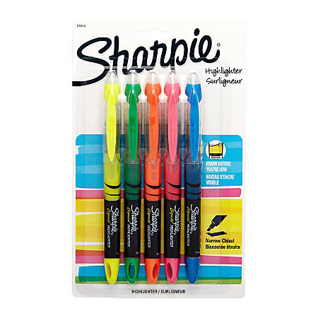 Sharpie® Liquid Accent® Pen-Style Highlighters, Assorted Colors, Box Of 5