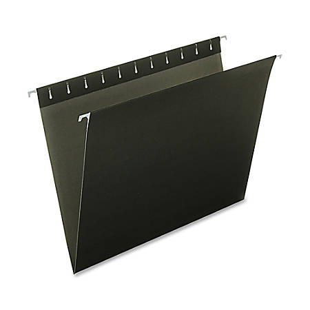 Oxford® Color 1/5-Cut Hanging Folders, Letter Size, Black, Box Of 25