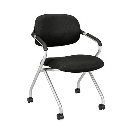 "basyx by HON® Nesting Stackable Chair, 33 1/2""H x 23 3/4""W x 23 3/4""D, Black/Silver"