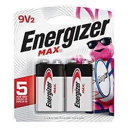Energizer® Max® 9-Volt Alkaline Batteries, Pack Of 2