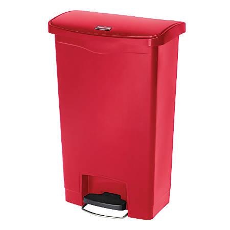 Rubbermaid® Slim Jim Rectangular Plastic Wastebasket, Step-On, 13 Gallons, Red