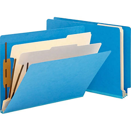 """Smead® Manila And Color Classification Folders, 8 1/2"""" x 11"""", 2 Divider, 2 Partition, Blue, Pack Of 10"""