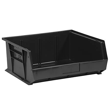 "Office Depot® Brand Plastic Stack And Hang Bin Boxes, 14 3/4"" x 16 1/2"" x 7"", Black, Pack Of 6"