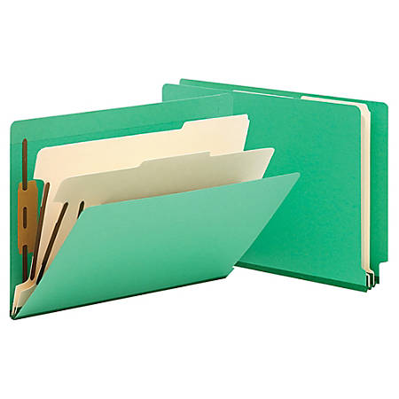 "Smead® Manila And Color Classification Folders, 8 1/2"" x 11"", 2 Divider, 2 Partition, Green, Pack Of 10"