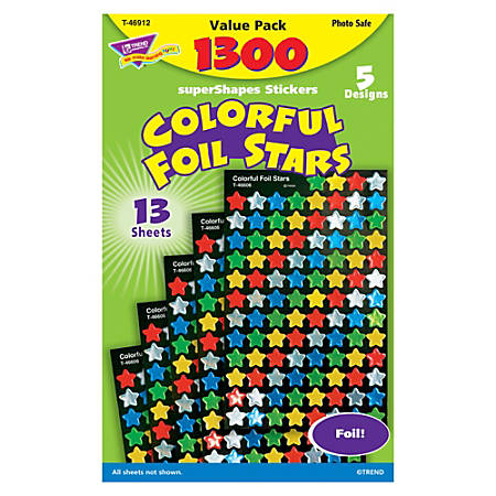 TREND Colorful Foil Stars SuperShapes Stickers Value Pack, Grades Pre-K - 5