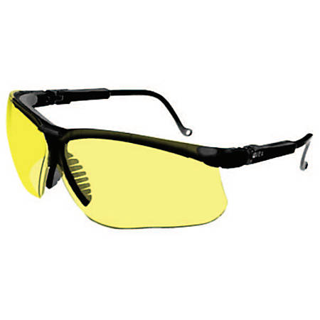 Genesis Eyewear, Amber Lens, Polycarbonate, Ultra-dura, Black Frame